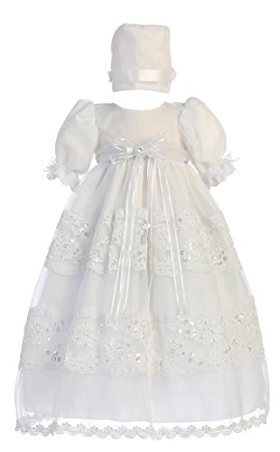 - Baby Girl White Organza with Lace Gown Christening Baptism Hat L (12-18 Month)