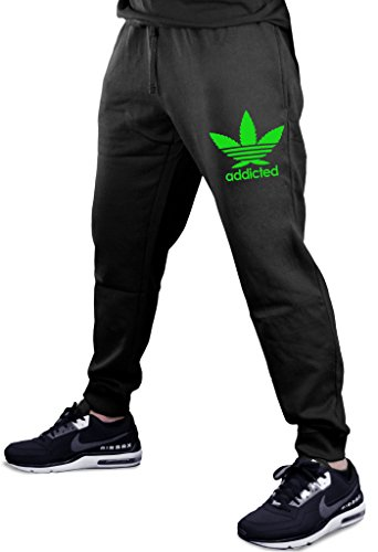 Cannabis Leaf Addicted V355 Men's Black Fleece Gym Jogger Sweatpants 2X-Large Black