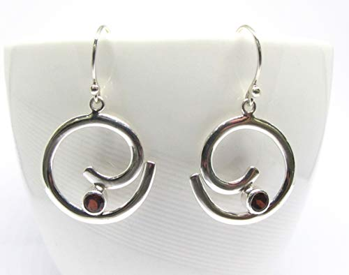 handmade 925 sterling silver dangle drop spiral earrings with genuine red garnet, round silver earrings with garnet, natural garnet earrings