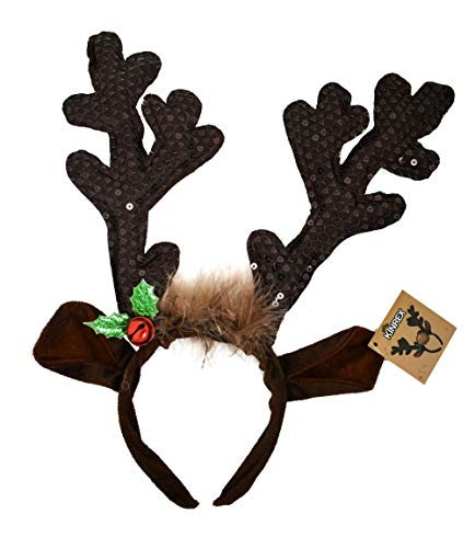 Premium Reindeer Antlers Headband Headwear - Funny Brown Christmas Accessory Sequin Fabric For kids and Adults - Measures 13.5