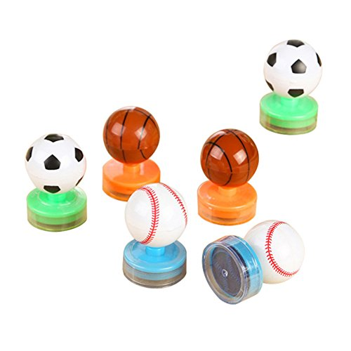 Lanlan 6PCS 3Style Football Basketball Baseball Stamps Student Hide Rolling Seal No Need Inkpad Art Ink Set Prizes Props Children's Day New Year Birthday kid Toy Gift Party Favor Set (Pattern Random)