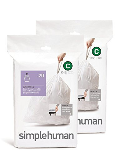 simplehuman Custom Fit Trash Can Liner C, 10 Liters / 2.6 Gallons, 20 Count (Pack of 2) (Simplehuman Code C Liners compare prices)