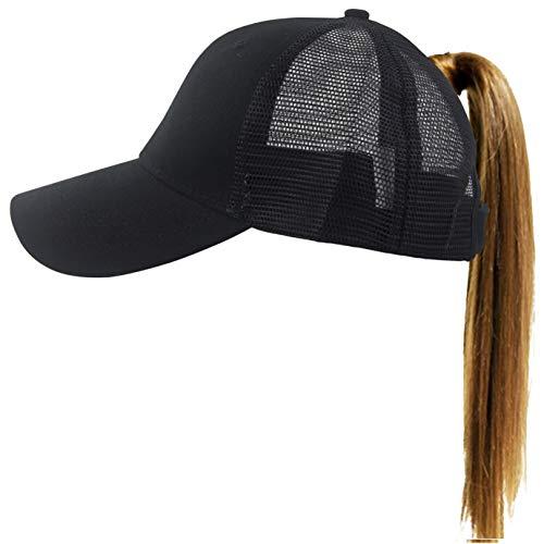 (Muryobao Womens Ponytail Baseball Cap Messy High Bun Ponycap Adjustable Snapback Summer Sun Hat Plain Trucker Dad Hat Mesh Black)