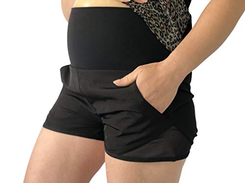 Black Maternity Shorts for Women. Soft, Breathable and Comfy Maternity Lounge Shorts You Will Love! (X-Large)