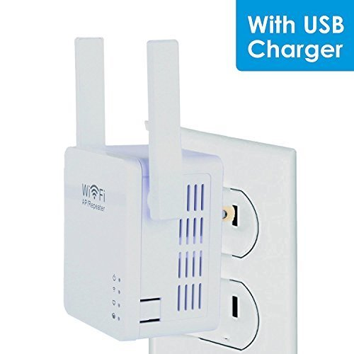 Wifi Extender, 4U Repeater Booster Supports AP Mode and Client Mode with USB Charging Port Wifi Range Extender( 802.11N 300Mbps, WPS)