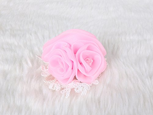 Luxurious Chiffon Rose Hair Clip and Brooch pin crystal and lace pearl (Pink) (Pebbles Halloween Hair)