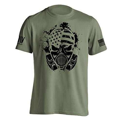 Dion Wear Gas Mask American Survivor Military T-Shirt Medium Military Green