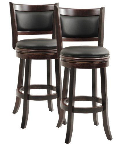 2 Swivel Bar Stools - Boraam 8829 Augusta Bar Height Swivel Stool, 29-Inch, Cappuccino, 2-Pack