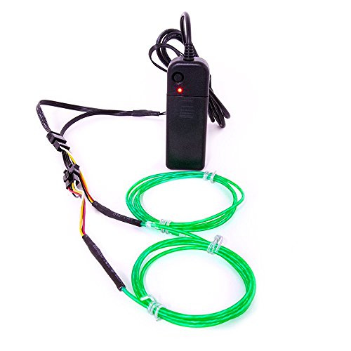 El Wire Sound Activated (GloFX 3 ft Moving Tracer EL Wire - Green - Motion Light Up Wires - 2 Mode Sound Activated Portable Battery six feet Foot AA Glowing Illuminated)