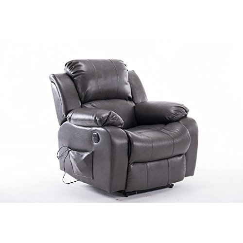 Air Leather Massage Recliner Chair with 8 point Vibration Motors LX801C Grey (Gravity Shiatsu Anti Recliner)