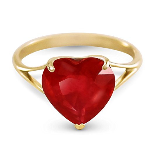 (14k Yellow Solid Gold Ring with Natural 10.0 mm 4.30 Carat Heart Ruby 5663Y (6))