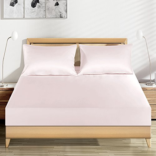 "LUXUER – Silk Fitted Sheet/ Mattress Cover/Protector 1PC Machine Washable Handmade 100% Pure Mulberry Silk for All Seasons 16"" Deep Queen Size, Pink"