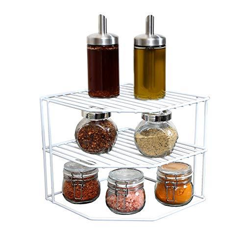- Smart Design 3-Tier Kitchen Corner Shelf Rack - Steel Metal Frame - Rust Resistant Finish - Cups, Dishes, Cabinet & Pantry Organization - Kitchen (9 x 8 Inch) [White]