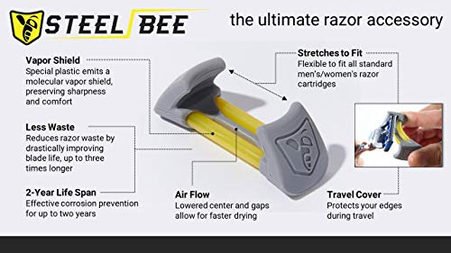 SteelBee Razor Saver | Anti-Rust Razor Cover | Blade Life-Extender | Travel Cartridge Protector | Corrosion-Preventing Attachment