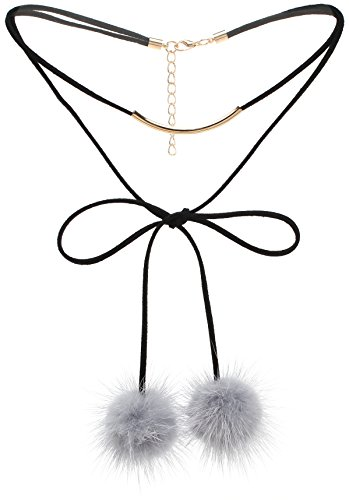 Lova Jewelry Fluffy Fuzzy Grey Fur Ball Black Suede Quirky Necklace