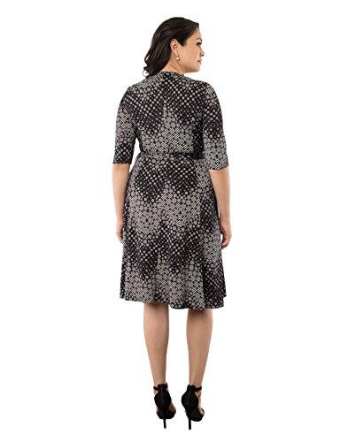Kiyonna Women's Plus Size Essential Wrap Dress 3X Black Chevron Print