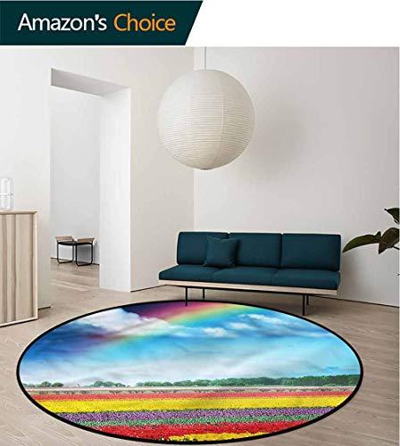 RUGSMAT Garden Small Round Rug Carpet,Rainbow Over Tulip Field Foam Mat Bedroom Decor Bedroom Diameter-39