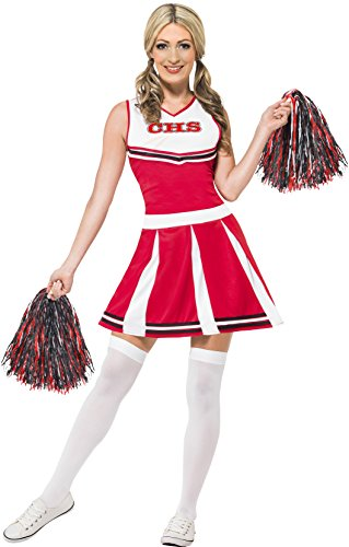 Heroes Cheerleader Costume Halloween (Smiffy's Women's Cheerleader Costume, Dress and Pom Poms, Icons and Idols, Serious Fun, Size 10-12, 40065)