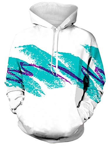 - TUONROAD Youth & Adult Unisex Fit Hoodies Sweaters Blue Purple Stripes 90s Solo Paper Jazz Cup Comfortable Sportswear Pullover Realistic Hooded Shirt with Adjustable Drawstring Hood