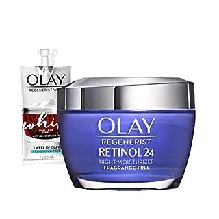 Olay Regenerist Retinol Moisturizer, Retinol 24 Night Face Cream, 1.7oz + Whip Face Moisturizer Travel/Trial Size Bundle