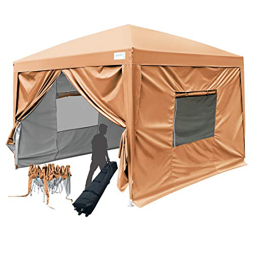 Quictent 2018 Upgraded 8x8 EZ Pop Up Canopy Tent Instant Folding Party Tent with Sidewalls and Mesh Windows 100% Waterproof -9 Colors (Sandy Brown)
