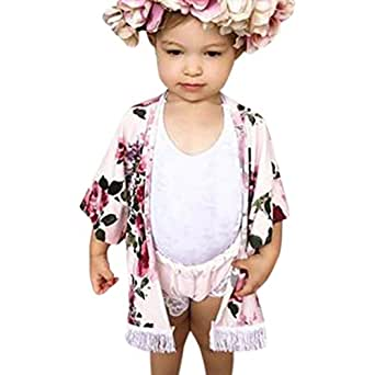 dce3f25364c0 Lanhui Baby Girl Flower Tassel Kimono Shawl Cardigan Tops Outfits Clothes  (Pink