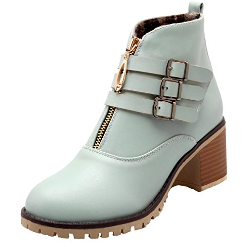 ENMAYER Womens Closed Round Toe Pu Soft Material Short Plush Chunky Heel Boots Blue taYtE