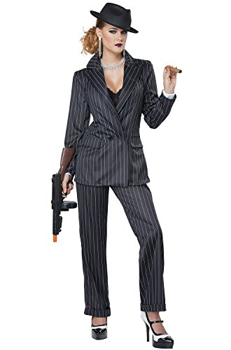 (California Costumes Women's Ms. Mobster Adult Woman Costume, Black/White/red)