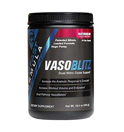 VASOBLITZ Award Winning Dual Nitric Oxide Pre Workout with NO3T Arginine Nitrate, L-Citrulline, Betaine Anhydrous, Calcium Lactate & Caffeine Free for Muscular Endurance (30 Serving, Watermelon)       by Build Fast Formula