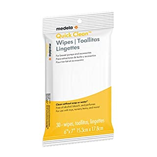 Medela Quick Clean Breast Pump & Accessory Wipes, 30Count Resealable Pack, Convenient & hygienic On The Go Cleaning for Tables, Countertops, Chairs, & More