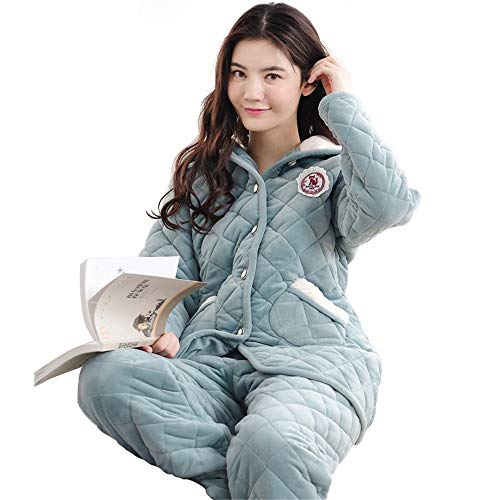 Hooded 65 Women's layer Cotton 58 Xl162 Pajamasx Coral Long Thick 65kg Xxl164 75kg Velvet Three sleeved Pajamas 168cm 172cm Suit Cute Winter Home Service 0BqUIwnU7x
