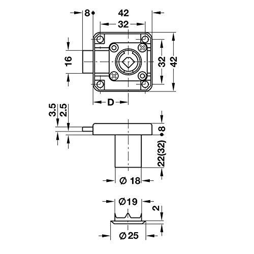 Stahl vernickelt Gedotec Zylinder-M/öbelschloss Aufschraubschloss SET f/ür Schubladen /& Schr/änke Kastenschloss Dornma/ß: 25 mm 2 St/ück