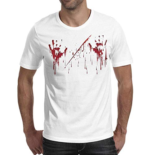Melinda Halloween Realistic Blood Palm Men's t Shirts Cool Mens Halloween Costume tee Shirts -