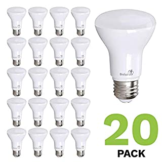 20 Pack BR20 LED Bulb Bioluz LED Dimmable BR20 50 Watt Replacement (7W) Soft White 3000K Indoor Outdoor Floodlight LED Bulbs Medium Base (E26) UL Listed