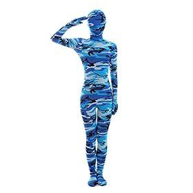 - 41Eg fUkyVL - Halloween Cosplay Costume Full Printed Navy Camouflage Bodysuit Lycra Spandex Zentai