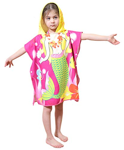 Genovega Toddler Hooded Beach Bath Towel - Mermaid Soft Swim Pool Coverup Poncho Cape for Girls Kids Children, 1-7 Years Old Bath Robe ()