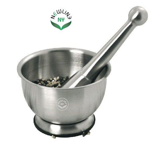 NewlineNY Stainless Steel Hand Masher & Bowl, Mortar and ...