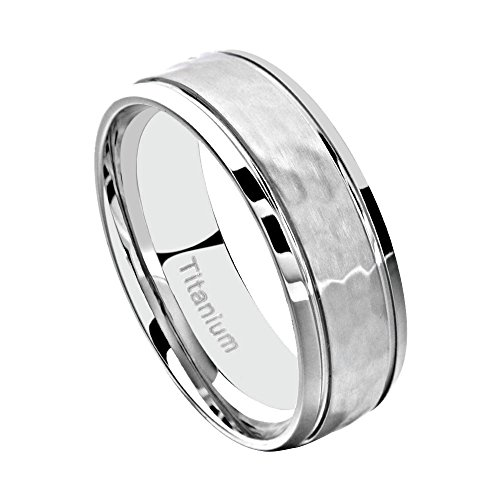 FlameReflection 8mm Men's Titanium Ring Wedding Band Hammered & Grooved Polish Edge Grooved size 11.5 SPJ (8mm Ring Hammered Band)