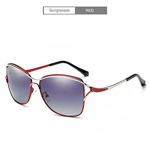Eyewear Femmes élégante Mode Conduite Femmes Soleil Outdor Lunettes polarisé Red Dames Accessoires Black pour encadré Cicongzai Larged Color de xqIwAw