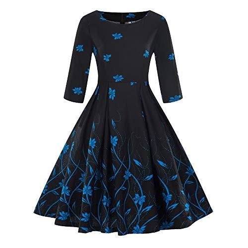 Aniywn Women Floral Print Retro Swing Dress Ladies Plus Size 3/4 Sleeve Vintage A-Line Knee-Length Long Dress Green