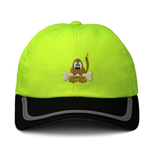 (Speedy Pros Reflective Running Hat Dog with Bone Embroidery Polyester Soft Neon Hunting Baseball Cap Strap Closure One Size Neon Yellow/Black Design Only)