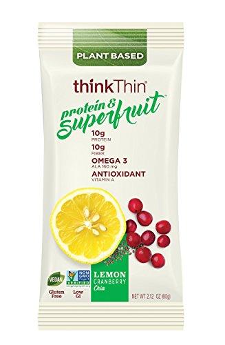 thinkThin Protein & Superfruit Bars, Lemon Cranberry Chia, 2.12 oz Bar (9 (Lemon Thins)