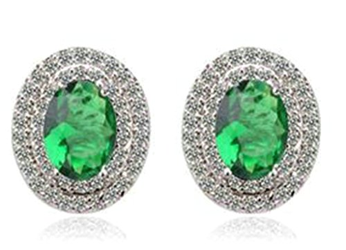 Bishilin Gold Plated Womens Stud Earring Green Channel Set CZ Egg Earrings