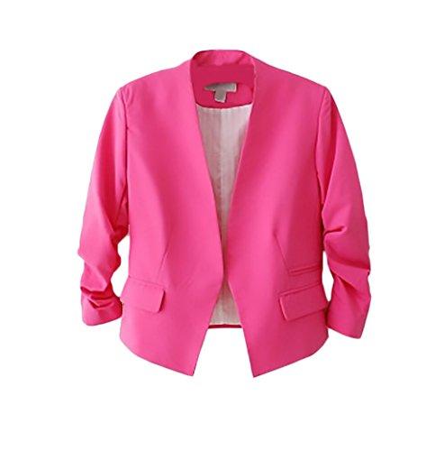 Manica Rose Fit Giacche Moda Business Giacca Donna Tailleur Slim Casual  Puro Elegante Primaverili Ufficio Blazer Colore Lunga wiuPkZOXT fc32c0e0103