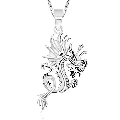 (925 Sterling Silver Detailed Dragon Luck Wisdom and Longevity Pendant Necklace 18