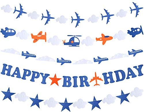 Airplane Aviator Themed Party Decorations | Plane Birthday Party Supplies for Boys - Airplane Birthday Party Decorations with Happy Birthday Banner | Airplane Happy Birthday Banner Pennant - Airplane Party Decoration - Up Up and Away Party for Boys Girls Kids 1st 2nd 3rd 4th Bday Decor -