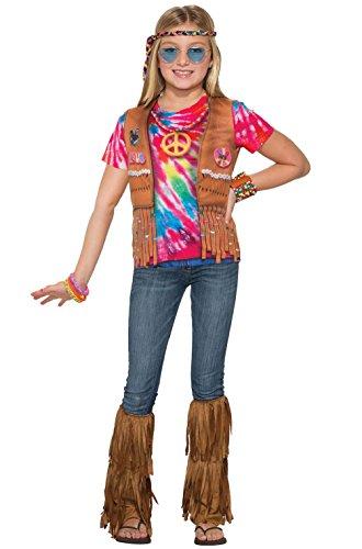 Hippie Girl Blonde Wig - Hippie Girl 1960's Shirt Child Costume (Large)