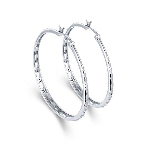Sterling Shape Heart Silver Earrings (SILVER MOUNTAIN S925 Sterling Silver Heart Shape Hollow Out Big Hoop Earrings For Women Diameter 40mm 50mm)