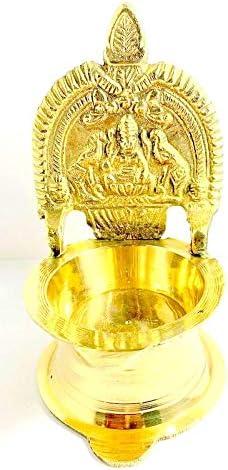 Robin Exports Brass Laxmi Diya for Puja and Home Festive Decoration 10 cm