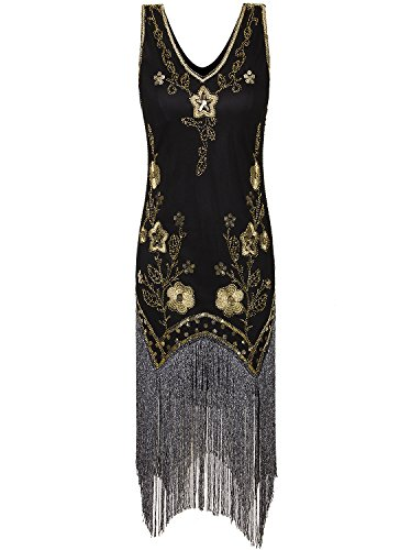 Black Fringe 1920 Flapper Costume (Vijiv Vintage Flapper Dresses 1920s Costume Full Long Fringe Gatsby Cocktail Dress,Black Gold,Medium)